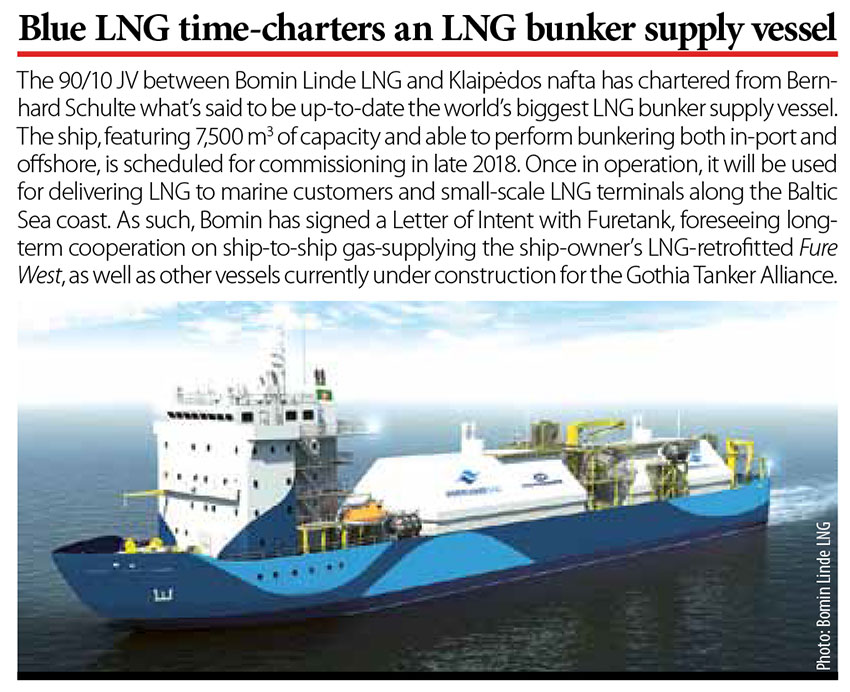 Blue LNG time-charters an LNG bunker supply vessel // Baltic Transport Journal. - 2016, nr 5, s. 10