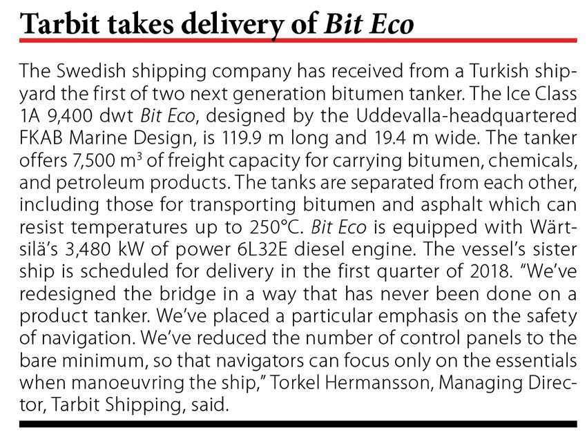 Tarbit taked delivery of Bit Eco // Baltic Transport Journal. - 2017, nr 6, s. 10
