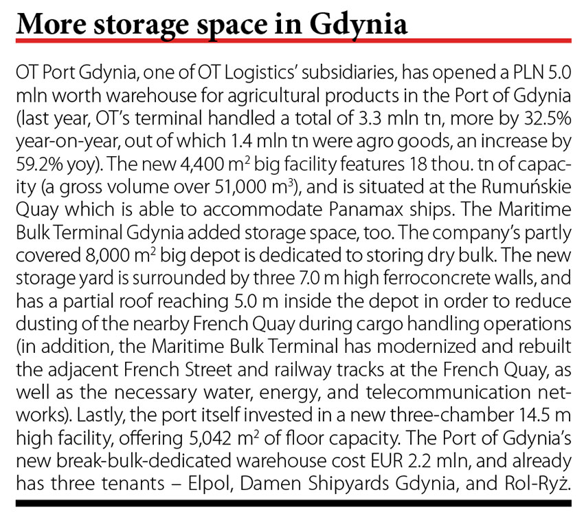 More storage space in Gdynia // Baltic Transport Journal. - 2017, nr 2, s. 10