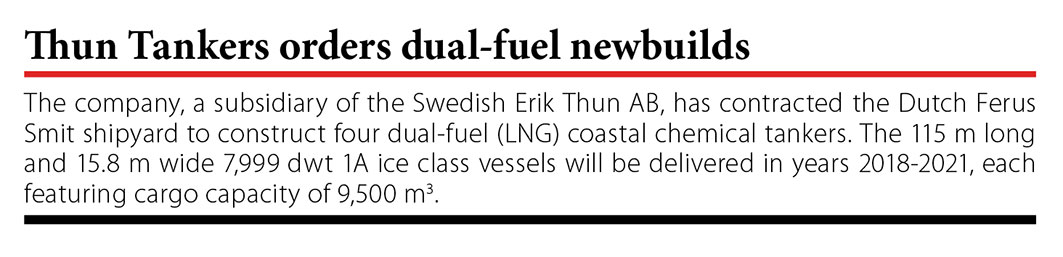 Thun Tankers orders dual-fuel newbuilds // Baltic Transport Journal. - 2016, nr 5, s. 11