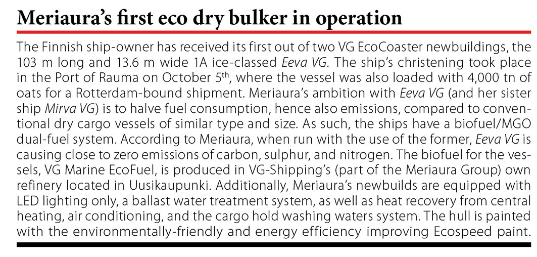 Meriaura's first eco dry bulker in operation // Baltic Transport Journal. - 2016, nr 5, s. 11
