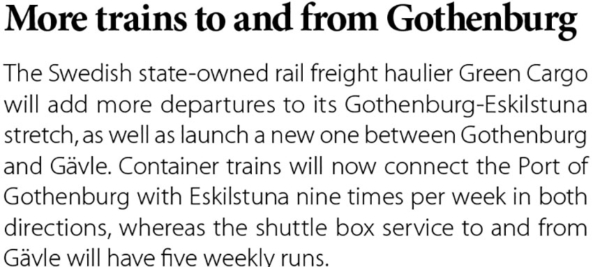 More trains to and Gothenburg // Baltic Transport Journal. - 2017, nr 2, s. 12