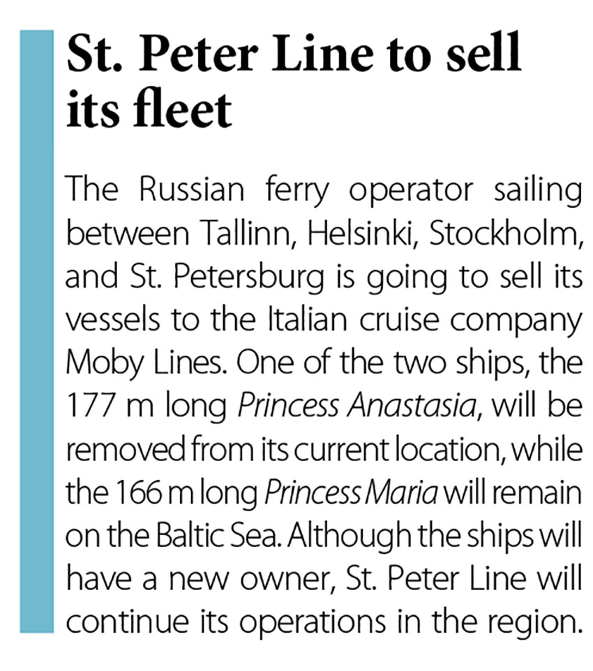 St. Peter Line to sell its fleet // Baltic Transport Journal. - 2016, nr 5, s. 12