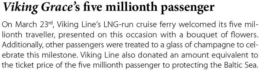 Viking Grace's five millionth passenger // Baltic Transport Journal. - 2017, nr 2, s. 12