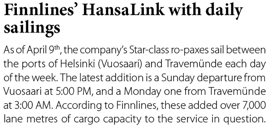 Finnlines' HansaLink with daily sailing // Baltic Transport Journal. - 2017, nr 2, s. 12