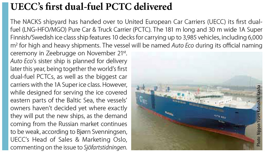 UECC's first dual-fuel PCTC delivered // Baltic Transport Journal. - 2016, nr 5, s. 12