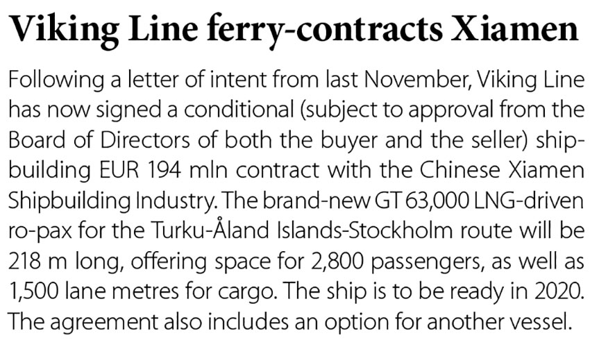 Viking Line ferry - contracts Xiamen // Baltic Transport Journal. - 2017, nr 2, s. 12