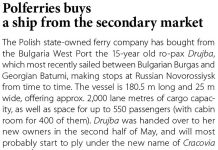 Polferries buys a ship from the secondary market // Baltic Transport Journal. - 2017, nr 2, s. 12