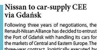 Nissan to car-supply CEE via Gdańsk // Baltic Transport Journal. - 2017, nr 2, s. 13