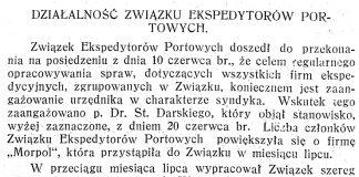 Działalność związku ekspedytorów portowych // Pomorze i Gdynia: dwutygodnik gospodarczy. - 1929, nr 1, s. 1