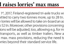 Finland raises lorries' max mass // Baltic Transport Journal. - 2017, nr 1, s. 10
