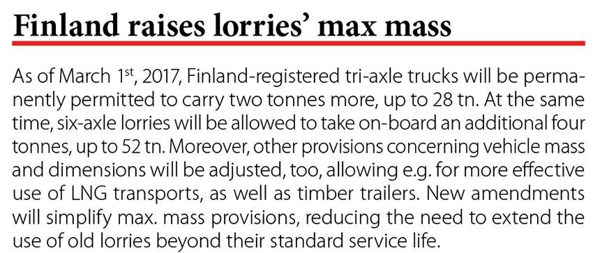 Finland raises lorries' max mass // Baltic Transport Journal. - 2017, nr 1, s. 10