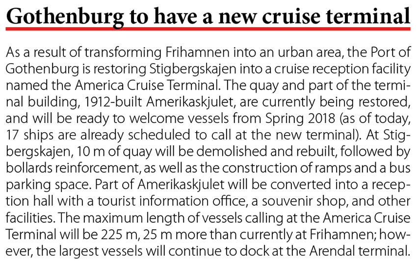 Gothenburg to have a new cruise terminal // Baltic Transport Journal. - 2017, nr 1, s. 10