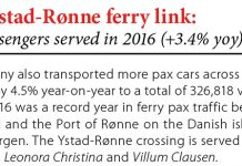 Faergen's Ystad-Ronne ferry link: 1,375,176 passengers served in 2016 (+3.4% yoy) // Baltic Transport Journal. - 2017, nr 1, s. 9