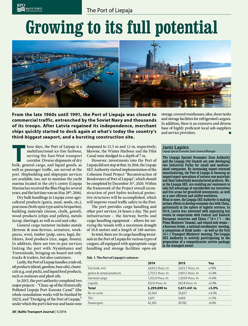 Growing to its full potential. The Port of Liepaja // Baltic Transport Journal. - 2016, nr 5, s. 38