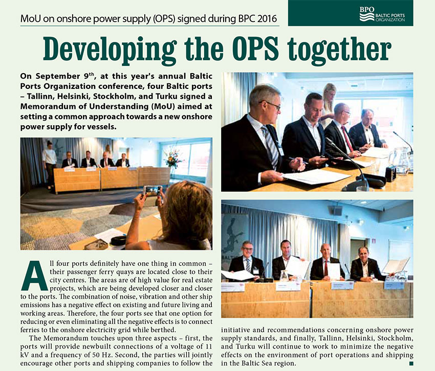 Developing the OPS together. MoU on onshore power supply (OPS) signed during BPC 2016 // Baltic Transport Journal. - 2016, nr 5, s. 39. - Il.