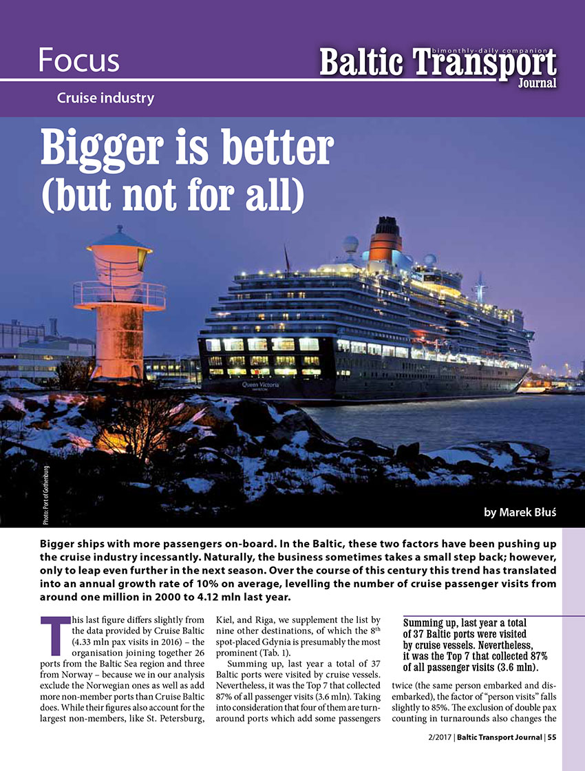 Bigger is better (but not for all). Cruise industry // Marek Błuś. - 2017, nr 2, s. 55-57. - Il., tab.