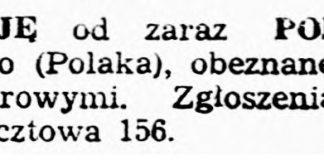 POSZUKUJE od zaraz PODMISTRZA ciesielskiego ... // Dziennik Bałtycki. - 1945, nr 77, s. 4