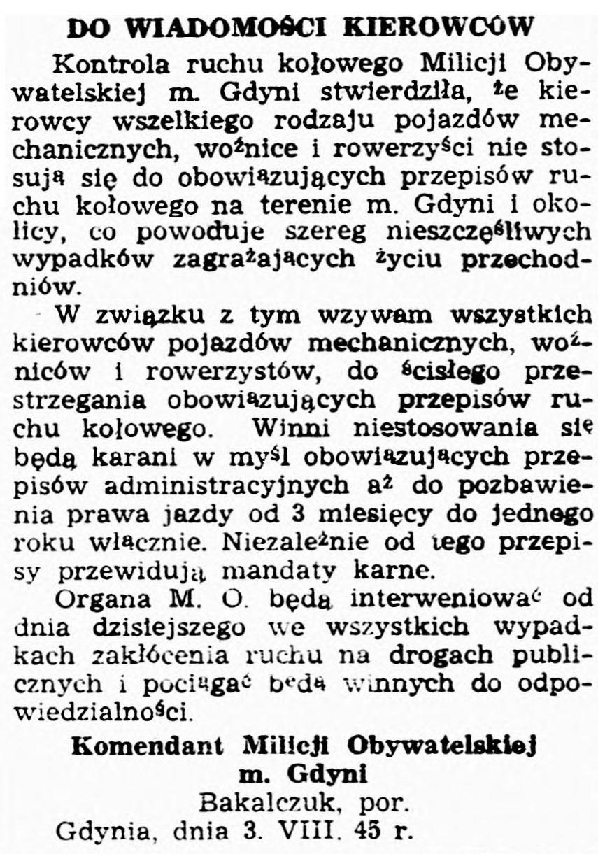 Do wiadomości kierowców / Komendant Milicji Obywatelskiej m. Gdyni Bakalczuk, por. // Dziennik Bałtycki. - 1945, nr 77, s. 4