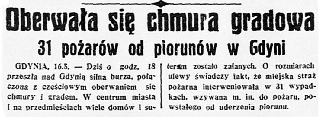 Oberwała się chmura gradowa. 31 pożarów od piorunów w Gdyni // Dzień Dobry. - 1937, nr 135, dod. Gazeta Codzienna, s. 1
