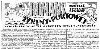 Romans syreny portowej. Powieść osnuta na tle wydarzeń Gdyni i wybrzeża / Tadeusz Denhoff. - 1938, nr 29, s. 4
