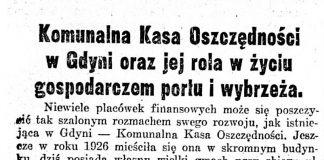 Komunalna Kasa Oszczędności w Gdyni oraz jej rola w życiu gospodarczem portu i wybrzeża // Gazeta Poznańska. - 1935, nr 298, s. 11