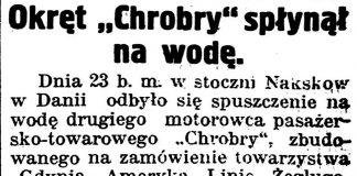 "Okręt ""Chrobry"" spłynął na wodę // Gazeta Kartuska. - 1939, nr 24, s. 3"