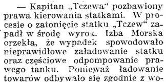 """[Kapitan """"Tczewa"""" pozbawiony prawa kierowania statkami] // Gazeta Kartuska. - 1939, nr 24, s. 3"""