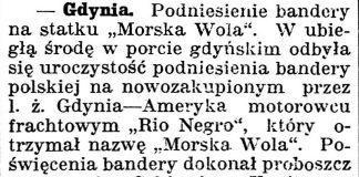 """[Podniesienie bandery na statku """"Morska Wola""""] // Gazeta Kartuska. - 1939, nr 24, s. 3"""