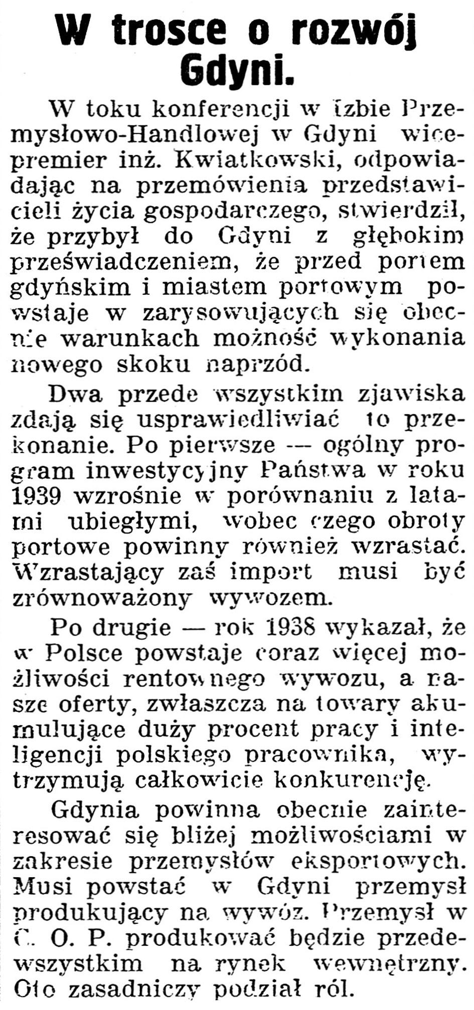 W trosce o rozwój Gdyni // Gazeta Kartuska. - 1939, nr 43, s. 2