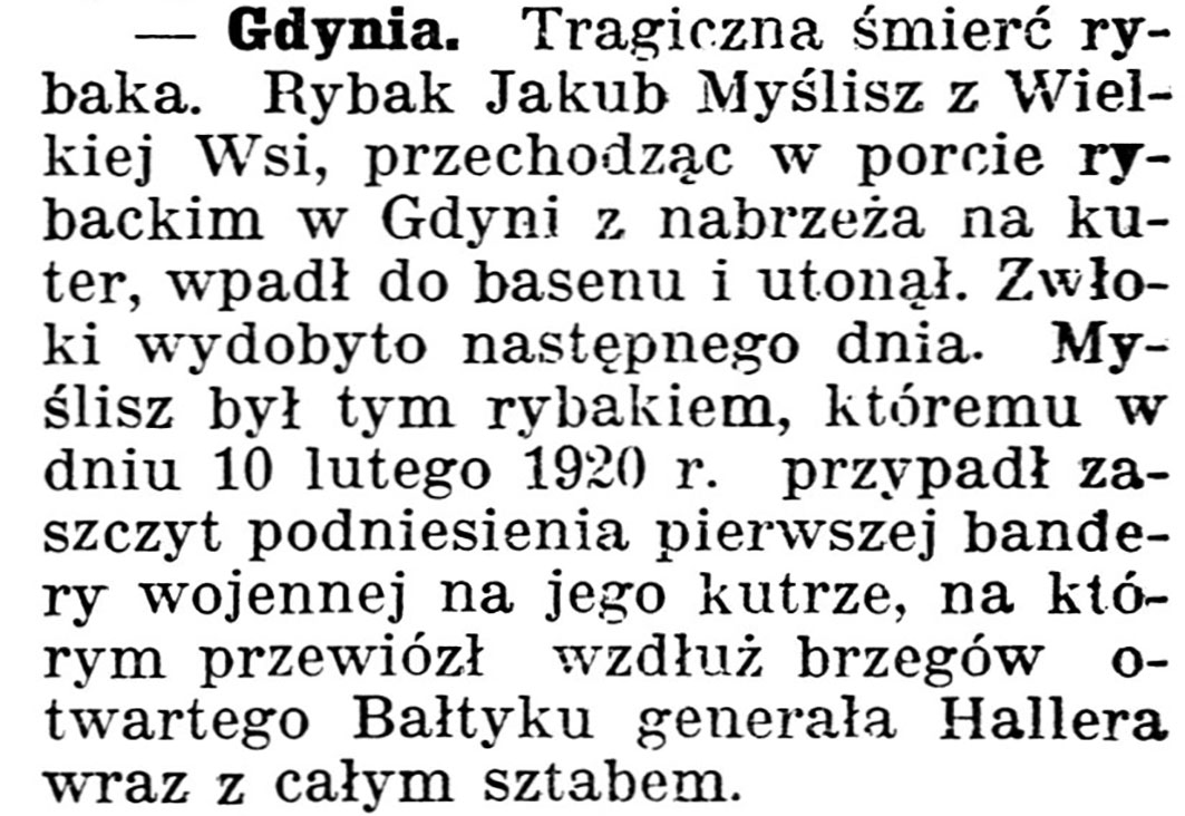 [Tragiczna śmierć rybaka] // Gazeta Kartuska. - 1939, nr 43, s. 2