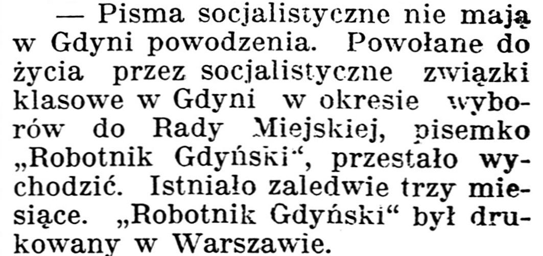 [Pisma socjalistyczne nie mają w Gdyni powodzenia] // Gazeta Kartuska. - 1939, nr 43, s. 2
