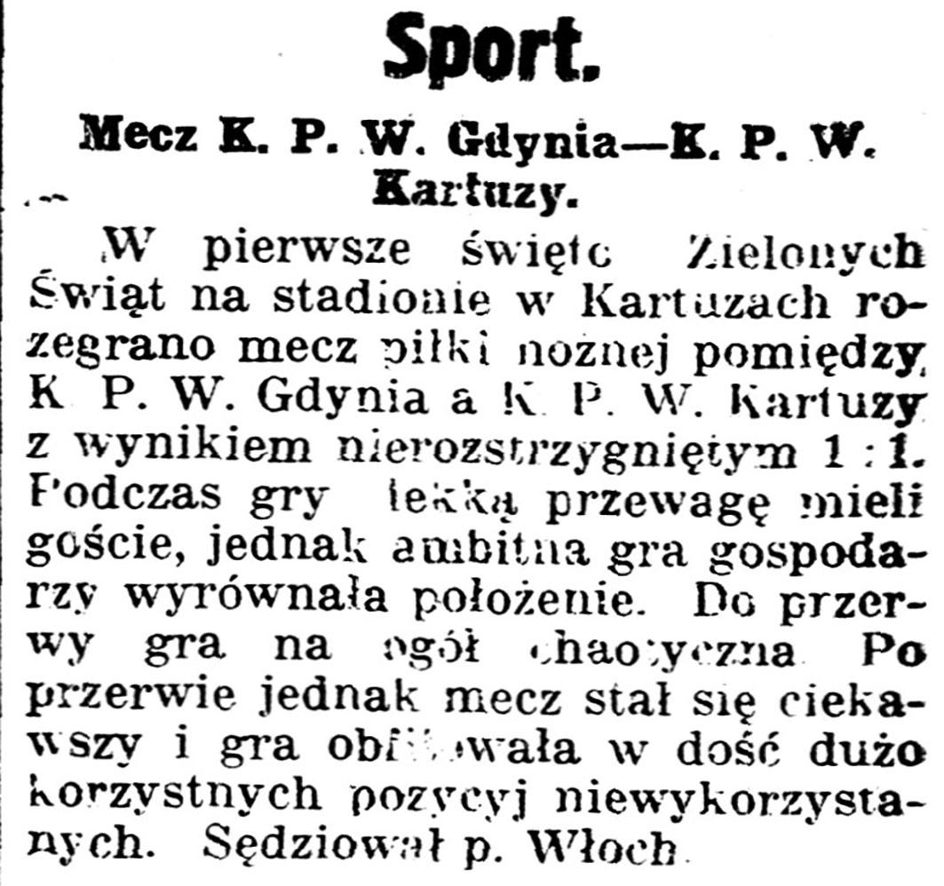 Mecz K.P.W. Gdynia - K.P.W. Kartuzy // Gazeta Kartuska. - 1939, nr 64, s. 3