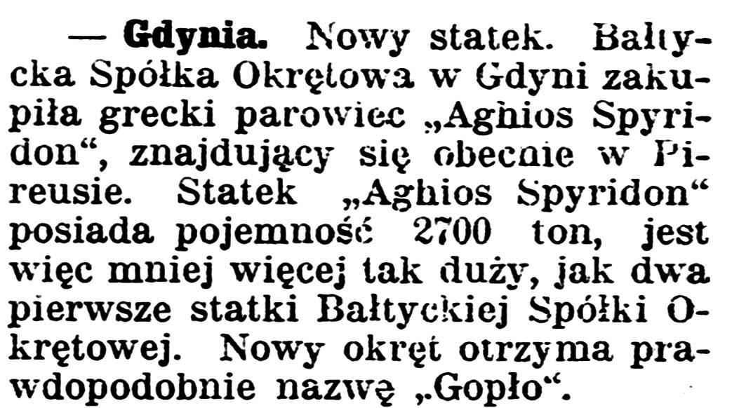 [Nowy statek. Bałtycka Spółka Okrętowa w Gdyni zakupiła grecki parowiec