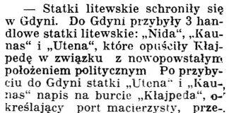 [Statki litewskie schroniły się w Gdyni] // Gazeta Kartuska. - 1939, nr 37, s. 2
