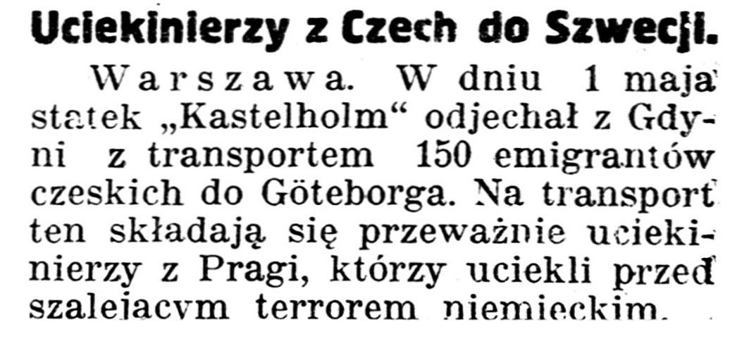 Uciekinierzy z Czech do Szwecji // Gazeta Kartuska. - 1939, nr 53, s. 1