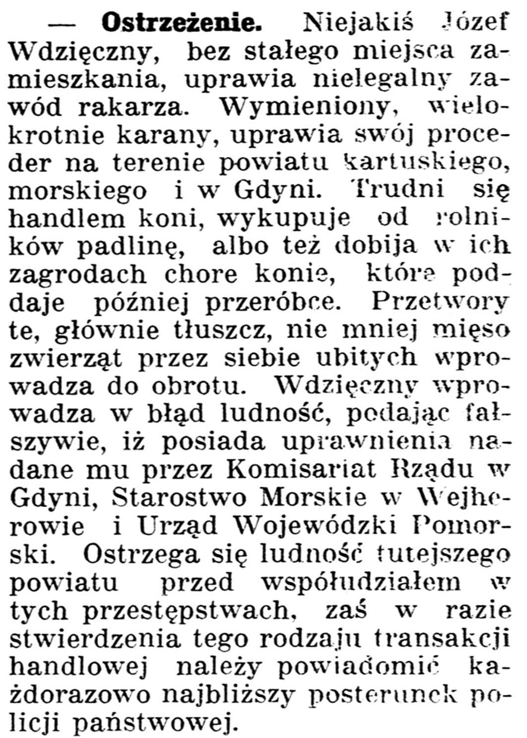 Ostrzeżenie // Gazeta Kartuska. - 1939, nr 53, s. 2