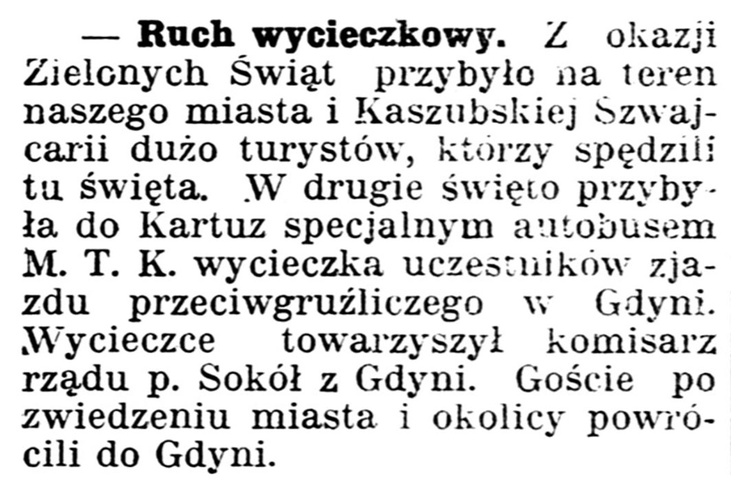 Ruch wycieczkowy // Gazeta Kartuska. - 1939, nr 54, s. 2