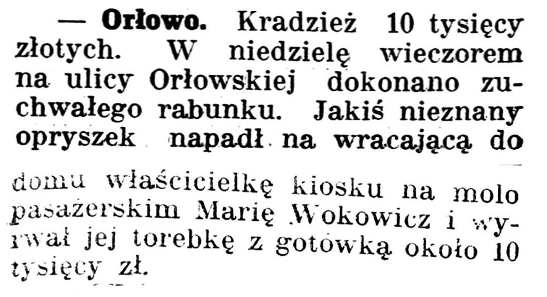 [Kradzież 10 tysięcy złotych] // Gazeta Kartuska. - 1939, nr 68, s. 2-3