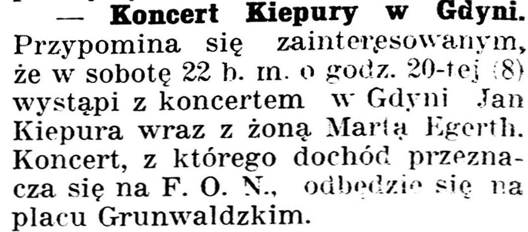[Koncert Kiepury w Gdyni] // Gazeta Kartuska. - 1939, nr 68, s. 2