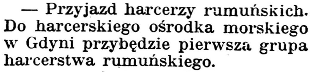 [Przyjazd harcerzy rumuńskich] // Gazeta Kartuska. - 1939, nr 68, s. 2