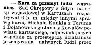 Kara za przemyt ludzi zagranicę] // Gazeta Kartuska. - 1939, nr 68, s. 3