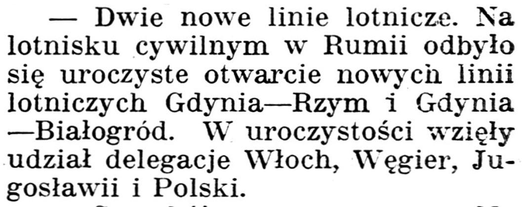 [Dwie nowe linie lotnicze] // Gazeta Kartuska. - 1939, nr 73, s. 2