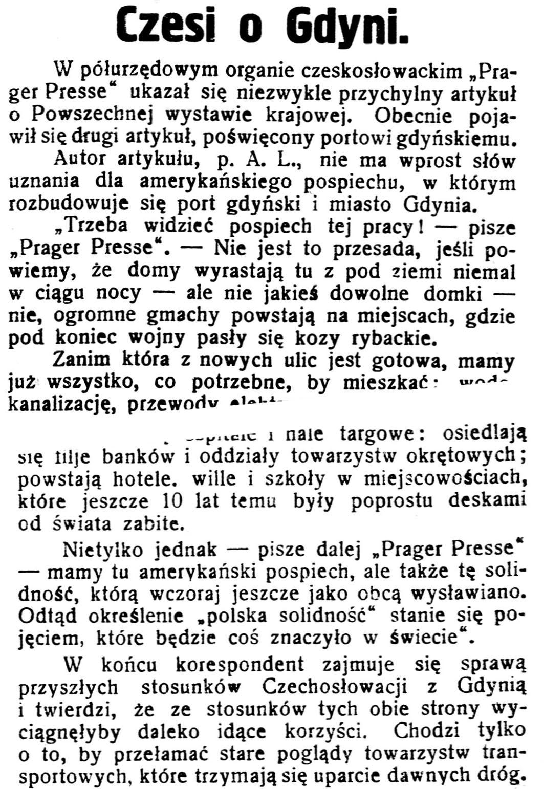 Czesi o Gdyni // Gazeta Kartuska. - 1929, nr 115, s. 1