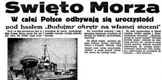 """Święto Morza. W całej Polsce odbywają się uroczystości pod hasłem """"Budujmy okręty na własne stoczni"""" // Dzień Dobry. - 1935, nr 178, s. 1. - Il."""
