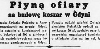 Płyną ofiary na budowę koszar w Gdyni / (g) // Dzień Dobry. - 1937, nr 191, s. 8