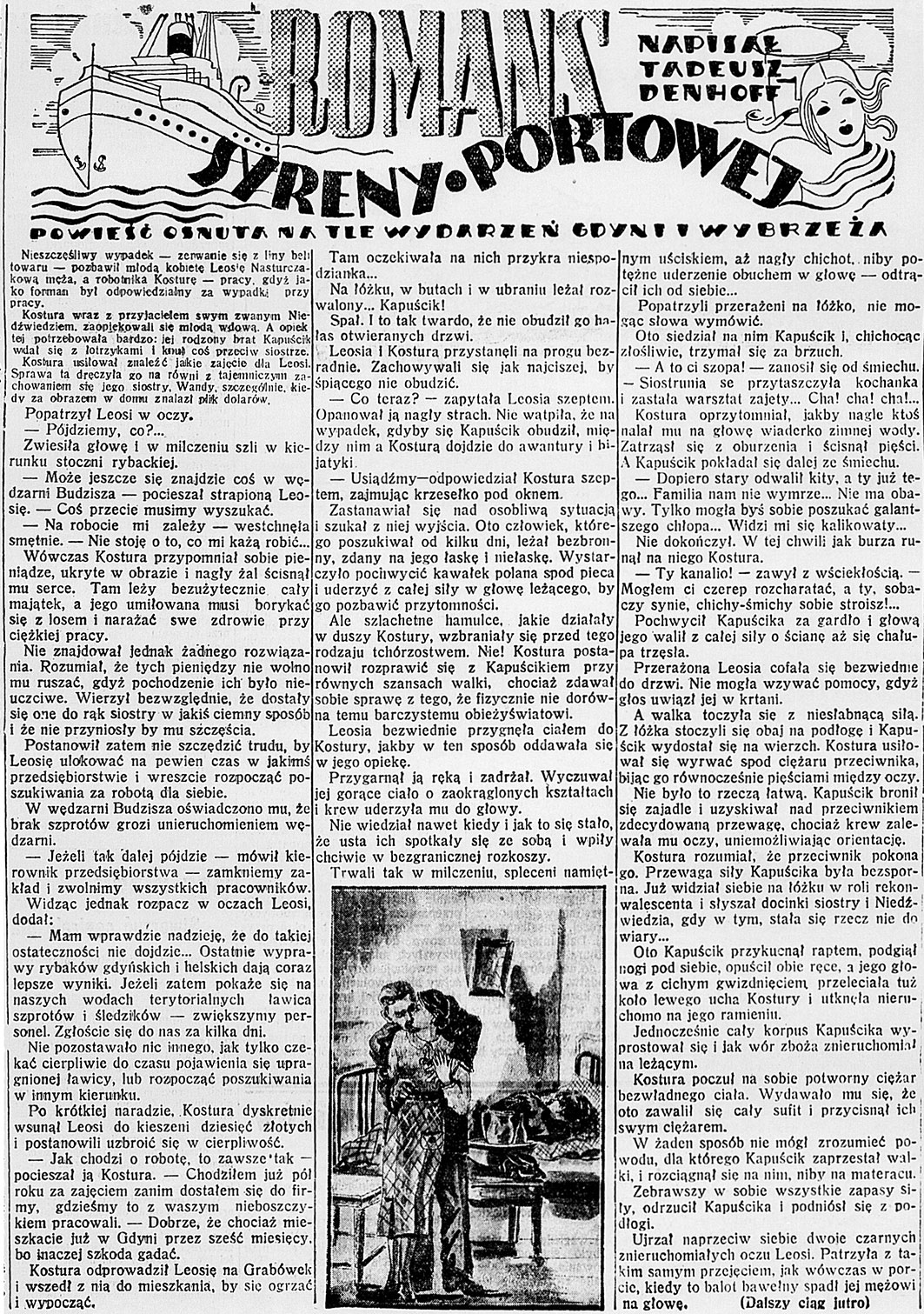 Romans syreny portowej. Powieść osnuta na tle wydarzeń Gdyni i wybrzeża / Tadeusz Denhoff. - 1938, nr 26, s. 4