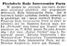 Pięciolecie Rady Interesantów Portu // Gazeta Poznańska. - 1935, nr 298, s. 11