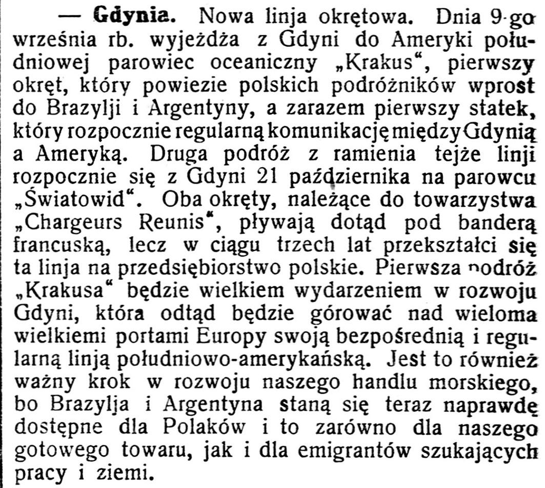 [Nowa linja okrętowa] // Gazeta Kartuska. - 1928, nr 82, s. 2
