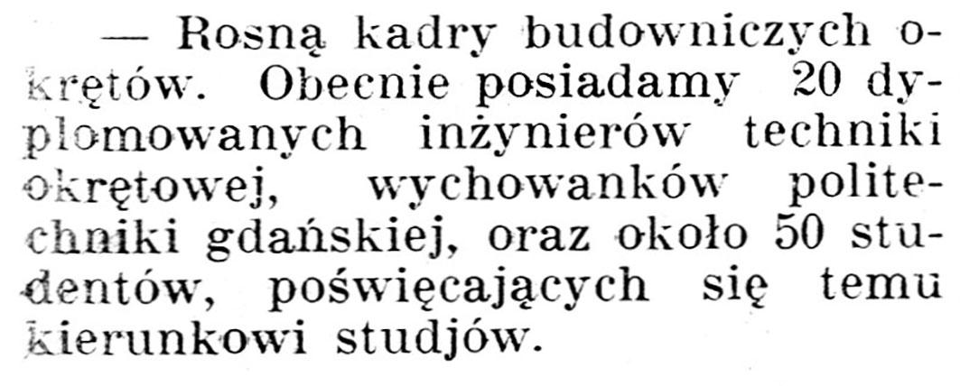 [Rosną kadry budowniczych okrętów] // Gazeta Kartuska. - 1929, nr 105, s. 3